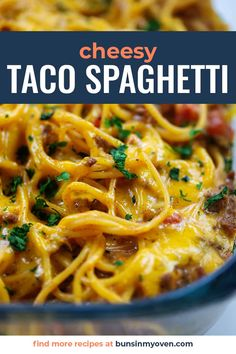 Easy, cheesy, and the perfect spin on tacos and spaghetti! Our kids love this taco spaghetti just as much as we do! Taco Spaghetti, Baked Spaghetti, Spaghetti Recipes, Cheese Spaghetti, Mexican Food Recipes, Beef Recipes, Real Food Recipes, Mexican Meals, Mexican Dishes