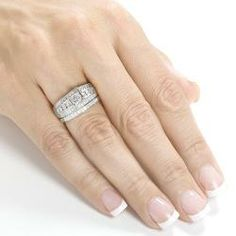 Annello 14k White Gold 1ct TDW Diamond Bridal Ring Set (H-I, I1-I2) | Overstock.com Shopping - Top Rated Annello Bridal Sets