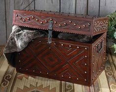 Leather tooling/crafting. Hand crafted trunk.