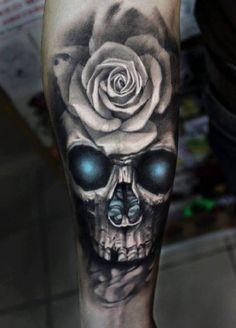 Skull blue black Rose white   #Tattoo, #Tattooed, #Tattoos