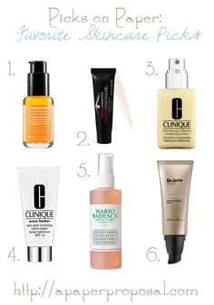 Picks on Paper - Favorite Skincare Products