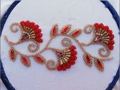 Bead Embroidery Tutorial, Embroidery Neck Designs, Hand Embroidery Flowers, Hand Work Embroidery, Embroidery Flowers Pattern, Embroidery Motifs, Creative Embroidery, Simple Embroidery, Bead Embroidery Jewelry