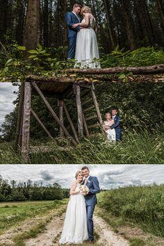 Für diese Bilder mussten wir nicht weit gehen. Der Hochstand, der Feldweg und der Wald befanden sich in unmittelbarer Nähe zum Haus des Brautpaares. Warum in die Ferne schweifen, dass Gute liegt so nah! #hochzeit #wedding #weddingphotography #hochzeitsfotografie #hochstand #wald Wedding Photography, Newlyweds, Getting Married, Pictures