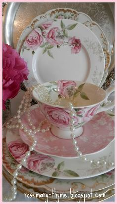 Lovely plates and teacup! And no gold. China with gold is beautiful, but it wears off and the magic is lost.