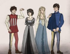 Leo (?), Thalia, Annabeth and Percy