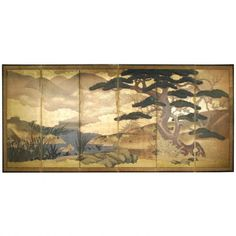 """Venerable Pine"", 18th c. Kano School Japanese Byobu Screen  c.1750 Paper, Gilt  149.0"" wide, 68.0"" high Collection #HIJ001"