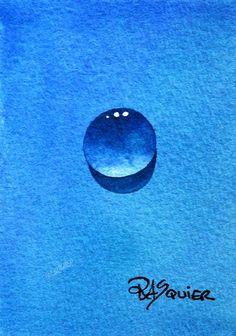 True Blue Dew Drop Original Watercolor Painting ACEO by Squier, $25.00
