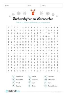 A free worksheet on Christmas, on the .- Ein kostenloses Arbeitsblatt zum Thema Weihnachten, auf dem die Schüler 12 Wör… A free worksheet on the theme of Christmas, on which the students 12 words … – - Primary Teaching, Teaching Kids, Christmas Articles, German Grammar, German Language Learning, Advent Calenders, Art Worksheets, Diy Presents, Book Activities
