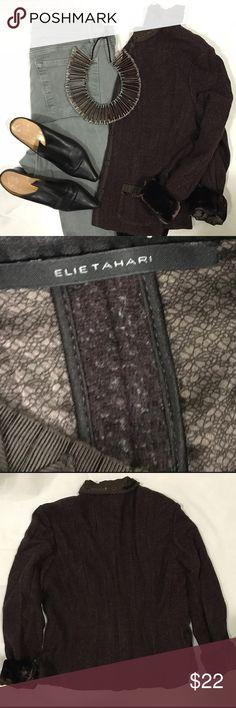 Boucle Tweed Velvet Fitted Blazer Ribbon and velvet trim - wool Blazer - fitted through waist - slight peplum flair - covered snap closure Elie Tahari Jackets & Coats Blazers