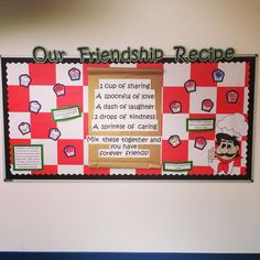 """We could have the children write a """"friendship recipe"""" for the week we talk about Jesus feeding the people? Anti Bullying Week, Anti Bullying Activities, Eyfs Activities, Classroom Activities, Classroom Displays Eyfs, Preschool Displays, Friendship Recipe, Friendship Lessons, Friendship Group"""