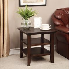 Normandy Tobacco Brown End Table | Overstock.com Shopping - The Best Deals on Coffee, Sofa & End Tables