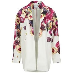 ONLY Women's Elaine Floral Spring Coat - Cloud Dancer (150 MYR) ❤ liked on Polyvore featuring outerwear, coats, jackets, multi, lightweight coats, floral print coat and floral coat