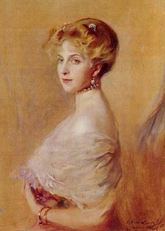 """""""Ena with Irises"""" by de Laszlo 1913 - Princess Ena more formally known as Victoria Eugenie. The daughter of Princess Beatrice of the United Kingdom and Henry of Battenburg, grand-daughter to Queen Victoria. She eventually became Queen of Spain."""