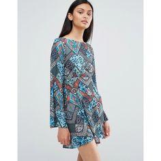 Love Tile Print Round Neck Skater Dress (£16) ❤ liked on Polyvore featuring dresses, multi, skater dresses, round neck dress, flared sleeve dress, lightweight dresses and braid dress