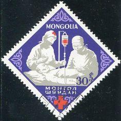 Francobolli - Donazione e trasfusione di sangue - Blood donation and transfusion Mongolia 1963