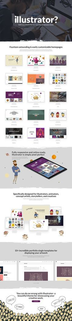 Let your talents shine with Illustrator - illustrator, designer and artist portfolio WordPress theme. Create a pixel perfect website with complete ease and zero coding knowledge. Illustrator has all you may need. Portfolio Book, Portfolio Layout, Artist Portfolio, Creative Portfolio, Creative Studio, Portfolio Design, Game Design, Book Design, Web Design