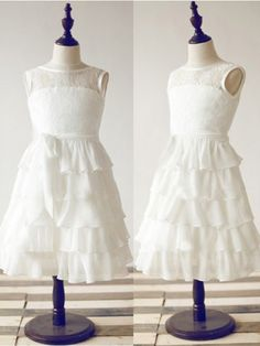 A-line/Princess Scoop Ankle-Length Lace Chiffon Flower Girl Dress