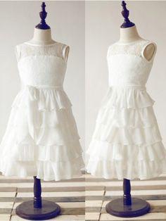 A-line/Princess Scoop Ankle-Length Lace Chiffon Flower Girl Dress