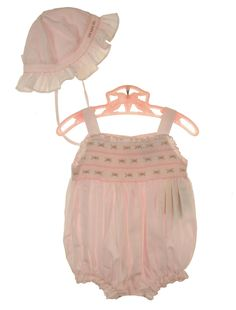 b38faaa76 NEW Carriage Boutiques Pink Smocked Sunsuit with Rosebud Embroidery and  Matching Sunbonnet $60.00 Rose Buds,