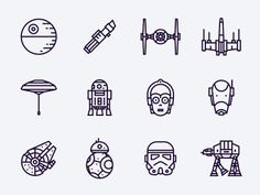 Star Wars free icons - Star Wars Paint - Ideas of Star Wars Paint - Hi folks! Rogue One is absolutely awesome so I decided to create a set of 12 icons based on all saga. Feel free to use them for commercial or personal use. More free icons is coming soon! Star Wars Vector, Star Wars Icons, Star Wars Characters, Star Wars Tattoo, War Tattoo, R2d2 Tattoo, Death Star Tattoo, Stormtrooper Tattoo, Comic Tattoo