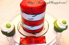Cat in the Hat cake and green egg cupcakes