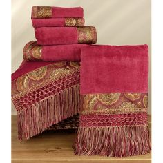 Avanti Bohemian Paisley Ming Red 6-piece Towel Set - Overstock Shopping - Top Rated Bath Towels