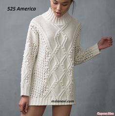 New Crochet Sweater White Knitwear Ideas Knitwear Fashion, Knit Fashion, Sweater Fashion, Sweater Outfits, Fall Outfits, White Sweater Dress, Cable Knitting, Cardigan Pattern, Knitting Designs