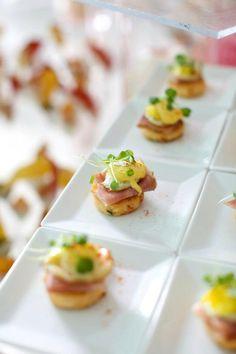 micro eggs benedict www.elegantaffairscaterers.com #elegantaffairscaterers #andreacorreale facebook.com/elegantaffairscaterers