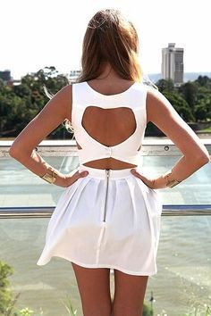 White Heart Cutout Dress with Fitted Bodice & Pleated Skirt, Dress, heart cutout dress sleeveless, Casual but its freaking out of freaking stock Fashion Mode, Womens Fashion, Dress Fashion, Cute Dresses, Cute Outfits, Dresses Dresses, Unique Dresses, Party Dresses, Casual Dresses