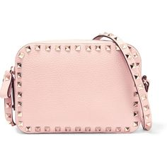 Valentino The Rockstud textured-leather shoulder bag (7767345 PYG) ❤ liked on Polyvore featuring bags, handbags, shoulder bags, camera shoulder bag, valentino handbags, pink shoulder bag, valentino purses and cross-body handbag