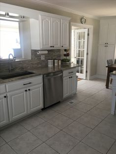 """White kitchen cabinets painted Sherwin Williams """"Extra ..."""