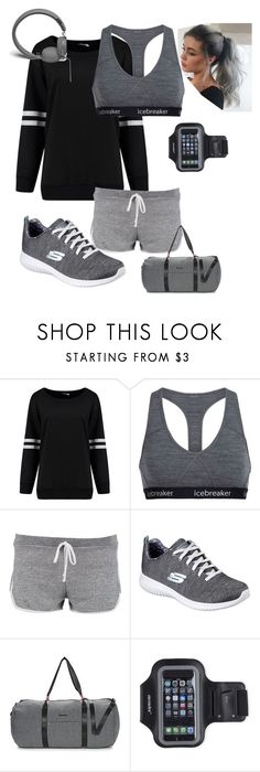 """grey gym"" by izzy-clothes ❤ liked on Polyvore featuring Icebreaker, Boohoo, Skechers, Bench, Marika and Urbanears"