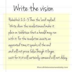 Write down the vision God has given you. Habakkuk 2