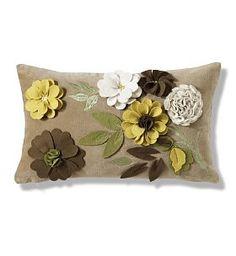 3D Appliqué Spring Floral Cushion. Pretty!