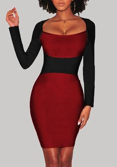 7d56998a526 Sexy Women Pencil Dress Square Neck Long Sleeves Color Block Clubwear  Evening Party Dress from Chicloth. Best affordable Bodycon Dresses online  store