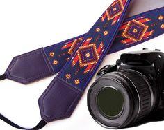 Dark purple camera strap. Native American (inspired) Camera strap (not beaded). Southwestern Ethnic Camera strap. DSLR / SLR Camera Strap. Photo Camera accessories. For Sony, canon, nikon, panasonic, fuji and other cameras.