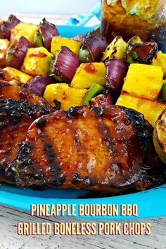 (Msg 4 ) Scrumptious Grilled Boneless Pork Chops glazed with mouthwatering homemade Pineapple Bourbon BBQ sauce and served with pineapple, pepper and onion kabobs for an easy and delicious grilled dinner! Grilled pork chops are perfect for summer ente Pork Rib Recipes, Grilling Recipes, Meat Recipes, Grilling Ideas, Yummy Recipes, Grilled Pork Chops Boneless, Bbq Pork Ribs, Pulled Pork, Grilled Meat