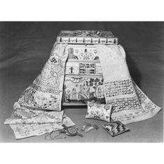 Embroidered casket, English, 1671; Victoria & Albert Museum No. T.432-1990; this photo shows the whole Martha Edlin collection of the two samplers, casket, and other casket contents.