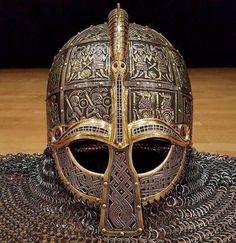 Helmet from Valsgard, Sweden, Wendel era, 6th century AD. Art Viking, Viking Armor, Ancient Armor, Viking Helmet, Viking Life, Arm Armor, Medieval Armor, Viking Hall, Viking Dragon