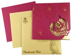 A Large collection of Hindu wedding cards, Designer wedding cards, Marriage cards, shaadi cards, Hindu wedding invitations & Handmade paper cards to choose from India. Scroll Wedding Invitations, Indian Wedding Invitation Cards, Wedding Invitation Card Design, Wedding Invitation Envelopes, Wedding Card Design, Hindu Wedding Cards, India Wedding, Outdoor Night Wedding, Wedding Shopping