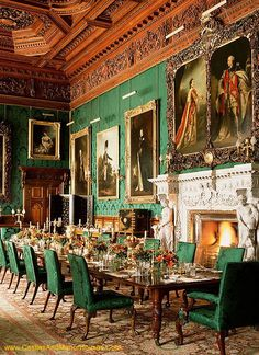 Alnwick Castle, Alnwick, Northumberland, England. Photo shows the state dining room. http://www.castlesandmanorhouses.com/photos.htm Alnwick is a castle and stately home. It is the seat of the Duke of...