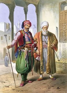 after Emile Prisse d'Avennes-A Janissary and a Merchant in Cairo, illustration from 'The Valley of the Nile', engraved by Charles Bour pub. by Lemercier, 1848 Exotic Art, Bagdad, Stuck, Le Far West, First Art, Ottoman Empire, Arabian Nights, North Africa, Art Plastique
