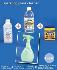 1/4 cup rubbing alcohol + 1/4 cup white vinegar + 1TBS cornstarch = combine in a 24oz. spray bottle, fill with water and shake well.