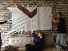 DIY square dowel wall art..: they were almost done