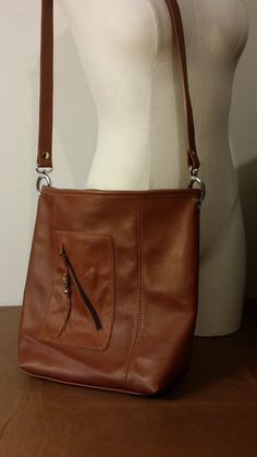 Soft English Tan Luxurious Leather Shoulder Bag Purse Brown Crossbody Handmade in USA by ForgedLeatherBags on Etsy