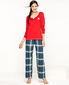 Tommy Hilfiger Top and Flannel Pajama Pants Set - Lingerie - Women - Macy's