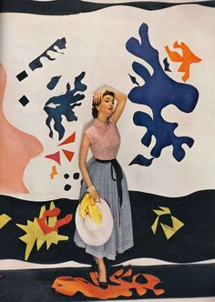 Jean Patchett and Antonieta in front of Matisse collages, by Cecil Beaton, for Vogue 1949