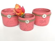 Coral Pink Shabby Chic Small Mason Jars... Jute Wrapped Jars...