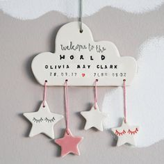 Are you interested in our personalised name date and weight for newborn? With our personalised newborn gift for nursery you need look no further. newborn Personalised New Baby Ceramic Cloud Decoration Baby Decoration, Decoration Buffet, Hanging Decorations, Diy Clay, Clay Crafts, Diy And Crafts, Ballons Pastel, Rain Design, Clay Ornaments
