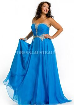 Cheap and Australia Pool Chiffon Gown With Rhinestone Bodice Floor Length Plus Size Evening Dress / Prom Dresses from Dresses4Australia.com.au